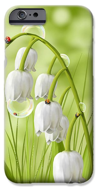 Digital Paintings iPhone Cases - Lily of the valley iPhone Case by Veronica Minozzi