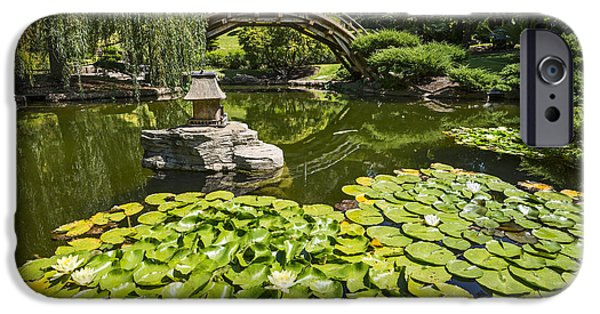 Willow Lake iPhone Cases - Lily Pad Garden - Japanese Garden at the Huntington Library. iPhone Case by Jamie Pham