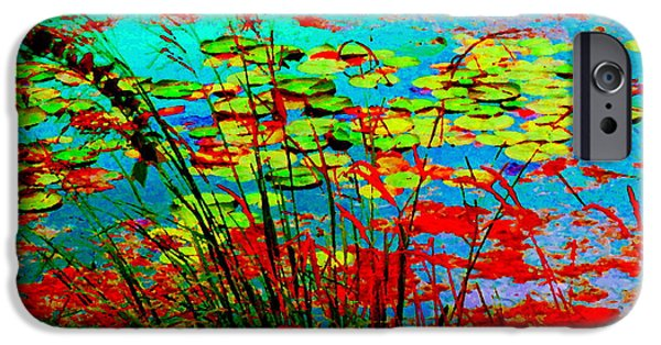 Garden Scene Paintings iPhone Cases - Lily Pads And Reeds Colorful Water Gardens Grasslands Along The Lachine Canal Quebec Carole Spandau iPhone Case by Carole Spandau