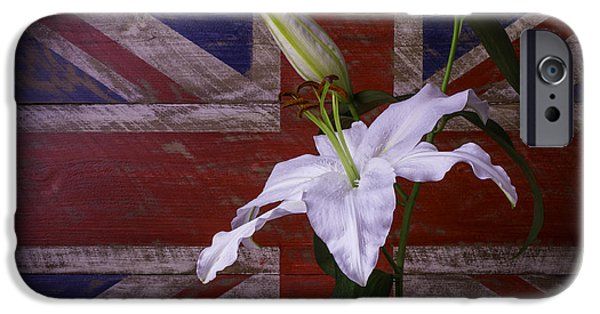 White Tiger iPhone Cases - Lily With British Flag iPhone Case by Garry Gay