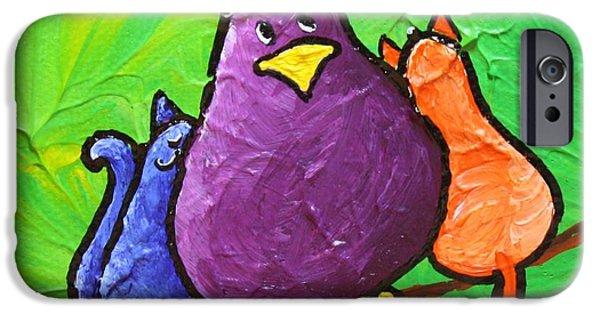 Birds On Limbs iPhone Cases - Limb Birds - Cat Bird iPhone Case by Linda Eversole