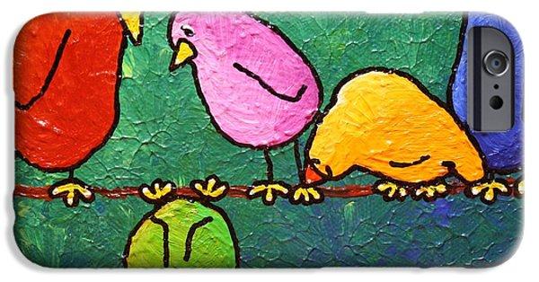 Birds On Limbs iPhone Cases - Limb Birds - Feelin Down? iPhone Case by Linda Eversole