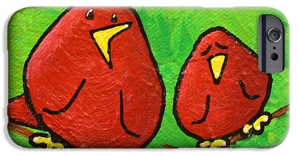 Yellow Beak Paintings iPhone Cases - Limb Birds - Red Overhead iPhone Case by Linda Eversole