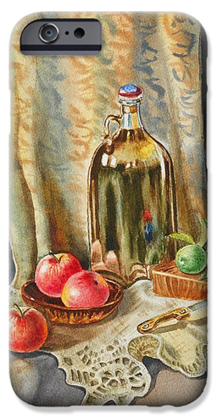 Glass Reflections iPhone Cases - Lime And Apples Still Life iPhone Case by Irina Sztukowski