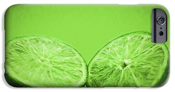 Painter Photographs iPhone Cases - Lime Food Painted Digitally 2 iPhone Case by David Haskett