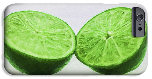 Painter Photographs iPhone Cases - Lime Food Painted Digitally 3 iPhone Case by David Haskett