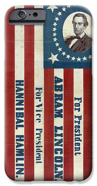 Presidential Elections iPhone Cases - Lincoln 1860 Presidential Campaign Banner iPhone Case by John Stephens