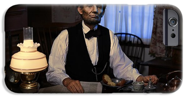 Abraham Lincoln Digital iPhone Cases - Lincoln at Breakfast 2 iPhone Case by Ray Downing