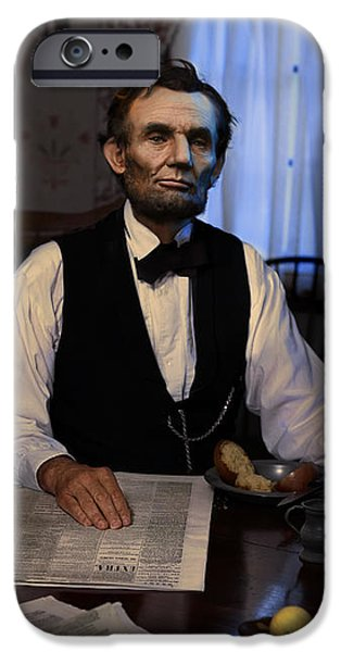 Lincoln at Breakfast 2 iPhone Case by Ray Downing