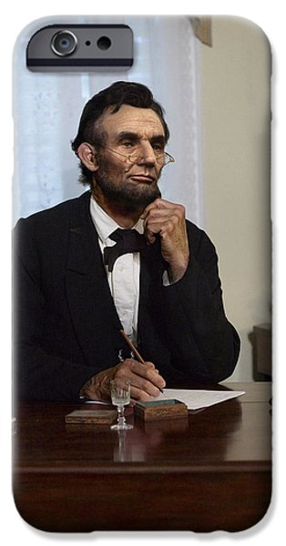 Abraham Lincoln Digital iPhone Cases - Lincoln at his Desk 2 iPhone Case by Ray Downing