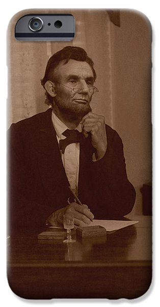Abraham Lincoln Digital iPhone Cases - Lincoln at his Desk iPhone Case by Ray Downing