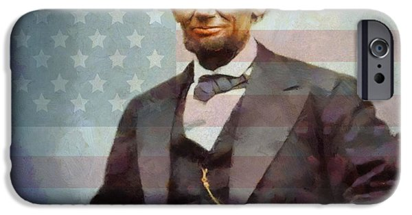 Old Glory Paintings iPhone Cases - Lincoln iPhone Case by Dan Sproul