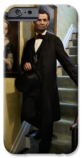 Abraham Lincoln Digital iPhone Cases - Lincoln Descending Stairs 2 iPhone Case by Ray Downing