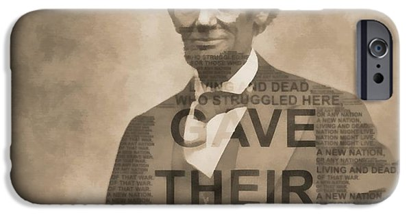 Lincoln iPhone Cases - Lincoln Gettysburg Address Typography iPhone Case by Dan Sproul