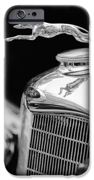 Lincoln Photographs iPhone Cases - Lincoln Hood Ornament - Grille Emblem -1187bw iPhone Case by Jill Reger