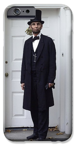 Abraham Lincoln Digital iPhone Cases - Lincoln Leaving a Building 2 iPhone Case by Ray Downing