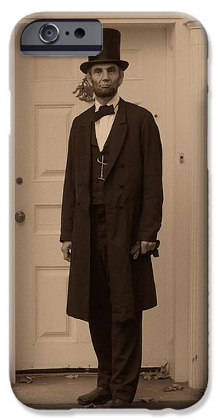 Lincoln Leaving a Building iPhone Case by Ray Downing