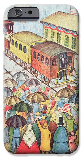 Politician iPhone Cases - Lincoln Leaving Springfield, Illinois By Train Pastel On Paper iPhone Case by American School