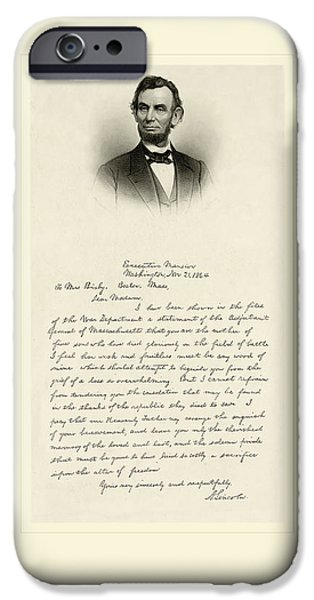 Antiques iPhone Cases - Lincoln Letter iPhone Case by Gary Grayson
