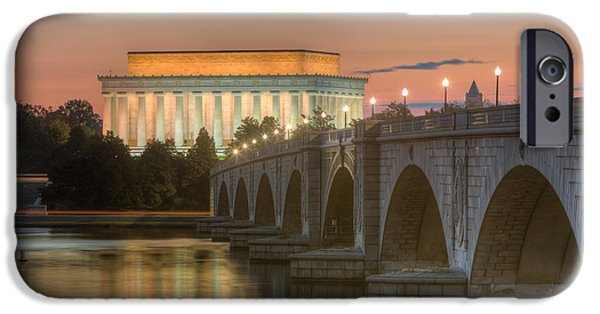 D.c. iPhone Cases - Lincoln Memorial and Arlington Memorial Bridge at Dawn I iPhone Case by Clarence Holmes