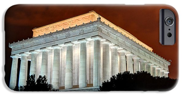 District Columbia Photographs iPhone Cases - Lincoln Memorial at Night - Washington D.C. iPhone Case by Gary Whitton