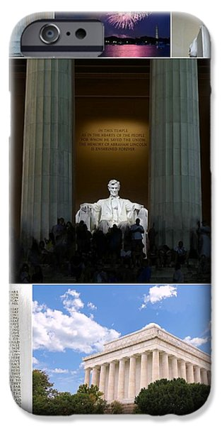 Nineteenth iPhone Cases - Lincoln Memorial Collage 2 iPhone Case by Allen Beatty