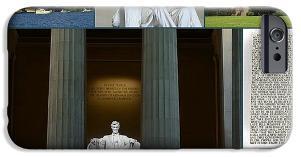 Nineteenth iPhone Cases - Lincoln Memorial Collage 3 iPhone Case by Allen Beatty