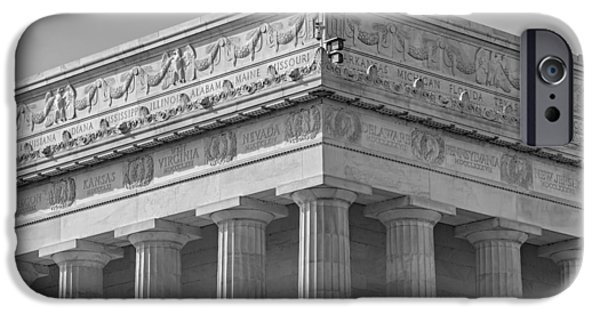 Architectural iPhone Cases - Lincoln Memorial Columns BW iPhone Case by Susan Candelario