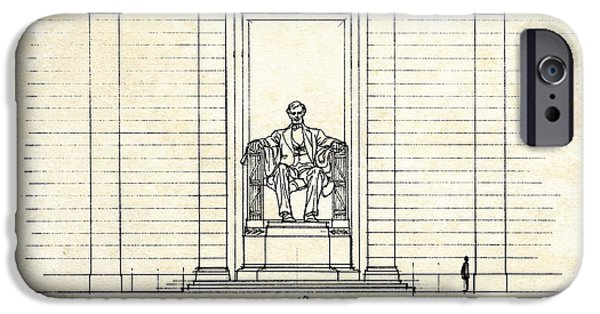 Lincoln iPhone Cases - Lincoln Memorial Sketch iPhone Case by Gary Bodnar