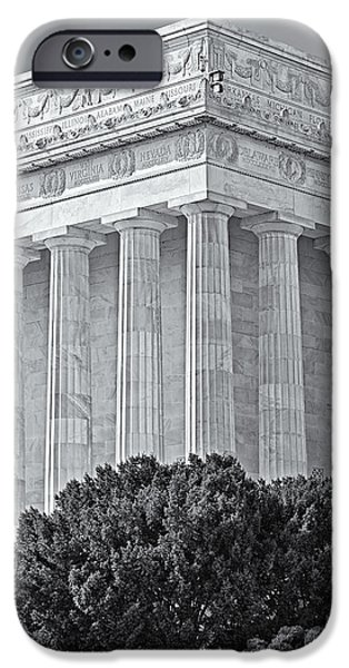 D.c. iPhone Cases - Lincoln Memorial Pillars BW iPhone Case by Susan Candelario