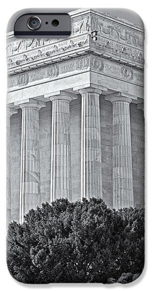 Lincoln Memorial Pillars BW iPhone Case by Susan Candelario