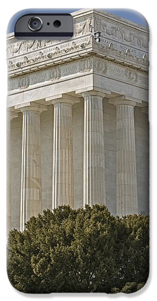 D.c. iPhone Cases - Lincoln Memorial Pillars iPhone Case by Susan Candelario