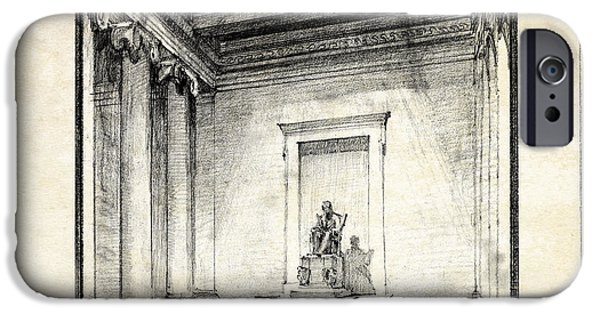 President iPhone Cases - Lincoln Memorial Sketch III iPhone Case by Gary Bodnar