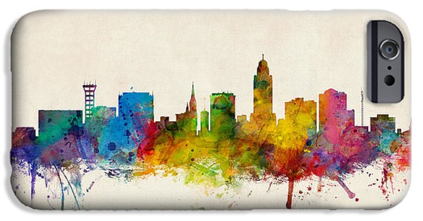 Lincoln iPhone Cases - Lincoln Nebraska Skyline iPhone Case by Michael Tompsett