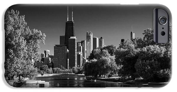 Lincoln iPhone Cases - Lincoln Park Lagoon Chicago B W iPhone Case by Steve Gadomski