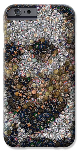 Montage Drawings iPhone Cases - Lincoln Political Button Mosaic iPhone Case by Paul Van Scott