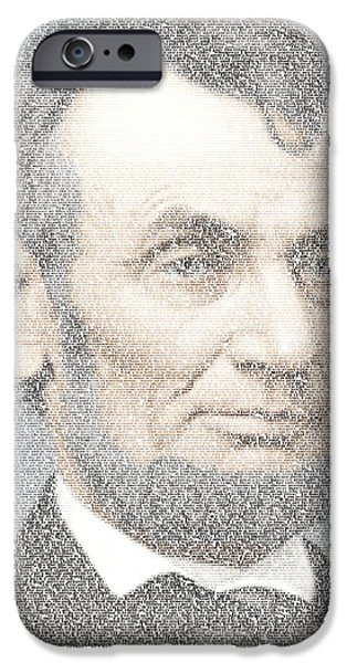 Montage Drawings iPhone Cases - Lincoln Quotes Mosaic iPhone Case by Paul Van Scott