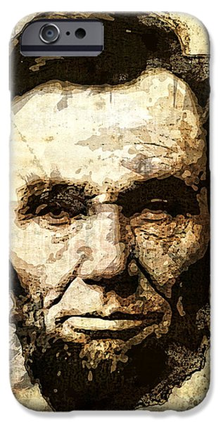 D.c. Digital iPhone Cases - Lincoln Sepia Grunge iPhone Case by Daniel Hagerman