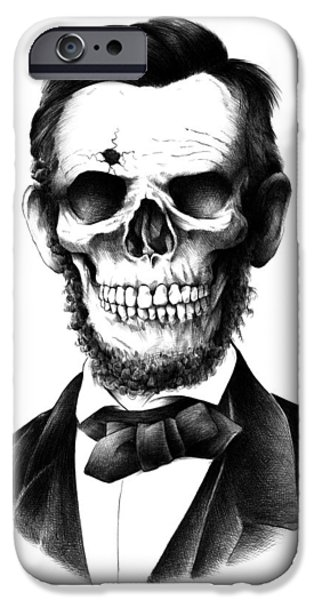President iPhone Cases - Lincoln Skull iPhone Case by BioWorkZ
