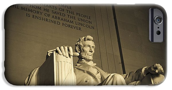 Patriotic Photographs iPhone Cases - Lincoln Statue in the Lincoln Memorial iPhone Case by Diane Diederich
