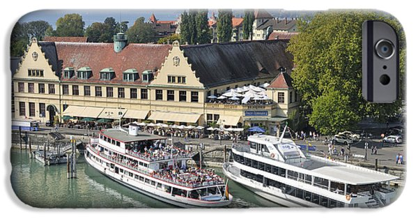 Pleasure iPhone Cases - Lindau harbor with ships Lake Constance Germany iPhone Case by Matthias Hauser