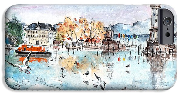 Switzerland Drawings iPhone Cases - Lindau Harbour In Winter iPhone Case by Miki De Goodaboom
