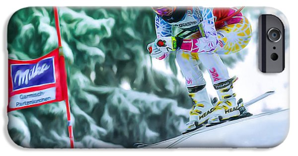 Super-g Skiing iPhone Cases - Lindsey Vonn iPhone Case by Don Olea