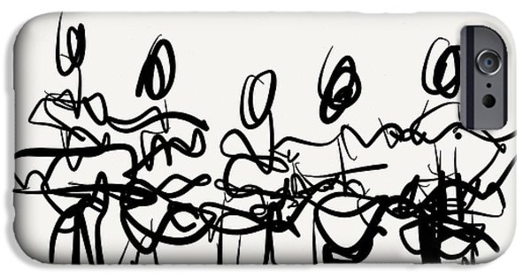 Gestures Drawings iPhone Cases - Line Dance iPhone Case by Kevin Houchin