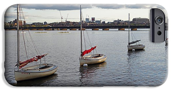 Oxford. Oxford Ma. Massachusetts iPhone Cases - Line of boats on the Charles River iPhone Case by Toby McGuire