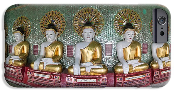 Buddhist iPhone Cases - Line Of Buddhas At Umin Thounzeh Temple iPhone Case by Panoramic Images