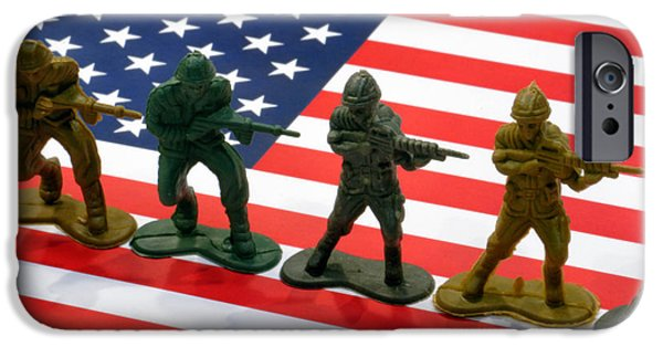 Armed Services iPhone Cases - Line of Toy Soldiers on American Flag Crisp Depth of Field iPhone Case by Amy Cicconi