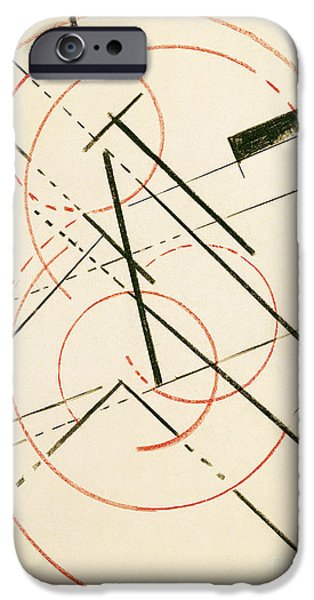 Abstract Shapes Drawings iPhone Cases - Linear Composition iPhone Case by Lyubov Sergeevna Popova