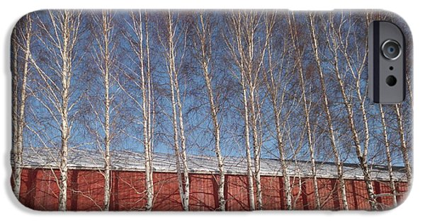 Red Barn In Winter iPhone Cases - Lined Birch iPhone Case by Erica  Darknell