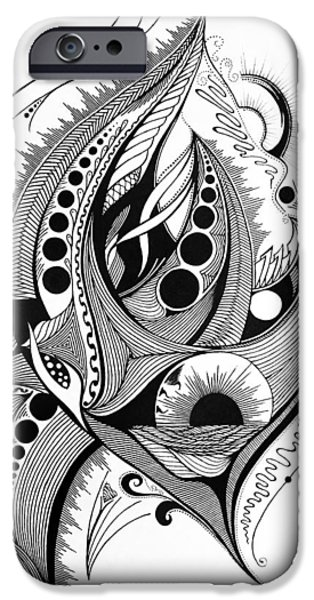 Monotone Drawings iPhone Cases - Lines Circles and Flames iPhone Case by Kelly Hazel